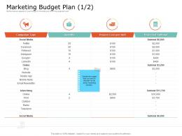 Product USP Marketing Budget Plan Cost Ppt Powerpoint Presentation Gallery Icon
