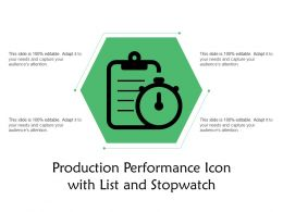 Production Performance Icon With List And Stopwatch