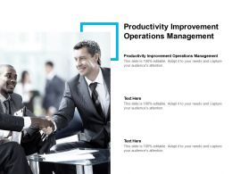Productivity Improvement Operations Management Ppt Powerpoint Presentation Slides Cpb