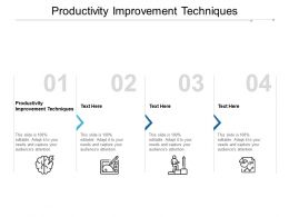 Productivity Improvement Techniques Ppt Powerpoint Presentation Outline Cpb