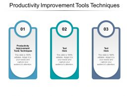 Productivity Improvement Tools Techniques Ppt Powerpoint Presentation Summary Example Topics Cpb
