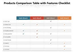 Products Comparison Table With Features Checklist