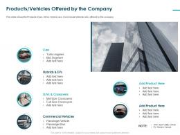 Products Vehicles Offered By The Company Commercial Vehicles Ppt Tips