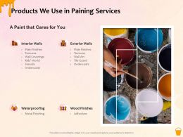 Products We Use In Paining Services Ppt Powerpoint Presentation Gallery Grid