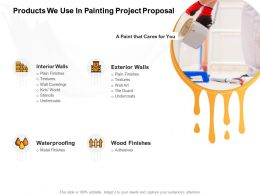 Products We Use In Painting Project Proposal Ppt Powerpoint Presentation Layouts