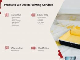 Products We Use In Painting Services Ppt Powerpoint Presentation Icon Display