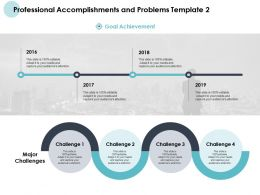 Professional Accomplishments And Problems Template Goals Acheivement Ppt Slides