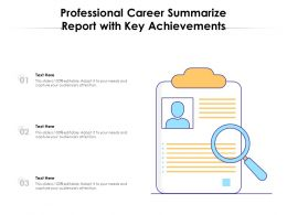 Professional Career Summarize Report With Key Achievements