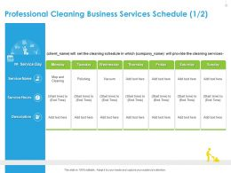 Professional Cleaning Business Services Schedule Polishing Ppt File Example Introduction