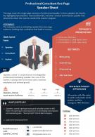 Professional Consultant One Page Speaker Sheet Presentation Report Infographic PPT PDF Document