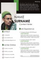 Professional Content Writer Resume Powerpoint Template