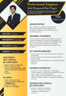 Professional Engineer Job Proposal One Pager Presentation Report Infographic PPT PDF Document