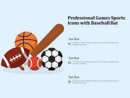Professional Games Sports Icons With Baseball Bat