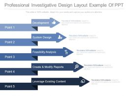 Professional Investigative Design Layout Example Of Ppt