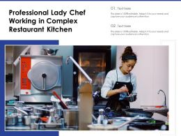 Professional Lady Chef Working In Complex Restaurant Kitchen