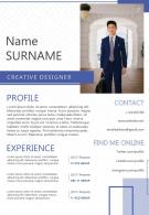 Professional Resume Template For Creative Designer CV A4 Size