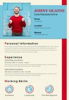 Professional Resume Template For Sales Representative Sales CV
