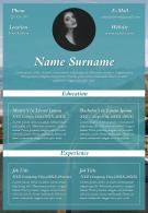 Professional Resume Visual CV A4 Size Template For Professionals