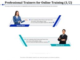 Professional Trainers For Online Training Audiences Ppt Powerpoint Presentation Deck