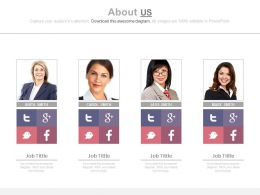 Professionals With Social About Us Details Powerpoint Slides