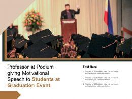 Professor At Podium Giving Motivational Speech To Students At Graduation Event