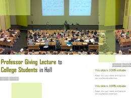 Professor Giving Lecture To College Students In Hall