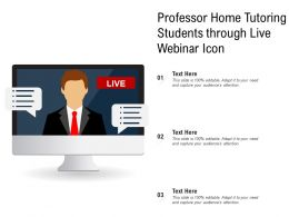 Professor Home Tutoring Students Through Live Webinar Icon