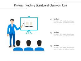 Professor Teaching Literature At Classroom Icon