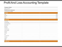 Profit And Loss Accounting Template