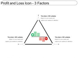 Profit And Loss Icon 3 Factors PowerPoint Slide Themes