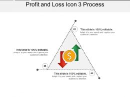 Profit And Loss Icon 3 Process Ppt Examples Professional