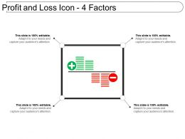 Profit And Loss Icon 4 Factors Powerpoint Slides