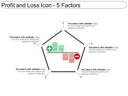 Profit And Loss Icon 5 Factors Powerpoint Templates