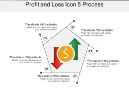 Profit And Loss Icon 5 Process PPT Samples Download