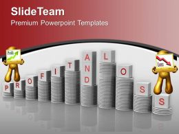 Profit And Loss On Stack Of Coins Growth PowerPoint Templates PPT Themes And Graphics 0213