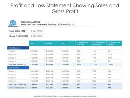 Profit And Loss Statement Showing Sales And Gross Profit