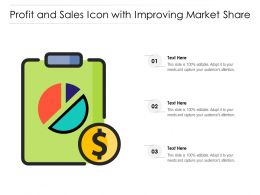Profit And Sales Icon With Improving Market Share