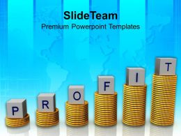 Profit On Stack Of Dollar Coins Business Powerpoint Templates Ppt Themes And Graphics