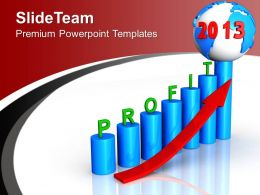 Profit Percentage Bar Graph Globe Growth PowerPoint Templates PPT Backgrounds For Slides 0113