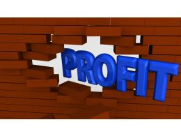 Profit Word Coming Out From Wall Stock Photo