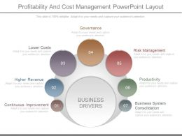 Profitability And Cost Management Powerpoint Layout
