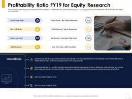 Profitability Ratio FY19 For Equity Research Earning More Ppt Powerpoint Presentation Slides Background Designs