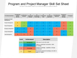Program And Project Manager Skill Set Sheet