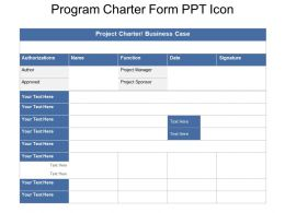Program Charter Form Ppt Icon