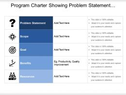 Program Charter Showing Problem Statement Scope Goal And Benefits