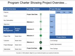 Program Charter Showing Project Overview Management Team And Milestones