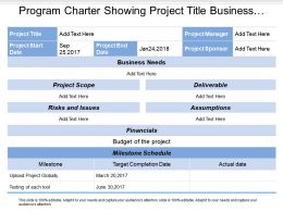 Program Charter Showing Project Title Business Needs Project Scope And Financials