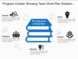 Program Charter Showing Team Work Plan Solution Analysis And Vision