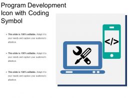 Program Development Icon With Coding Symbol