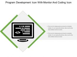 Program Development Icon With Monitor And Coding Icon